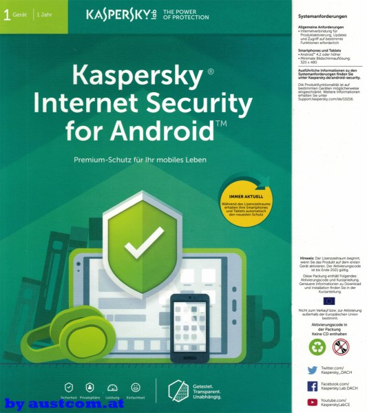 Kaspersky Premiumschutz for your mobil by austcom.at