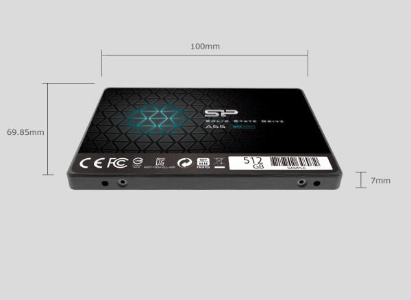 SiliconPower SP ACE A55 512GB SSD 3D Nand 7mm Ultra-Slim 3 Jahre Herstellergarantie